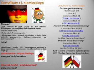 Jak uzyskać certyfikat językowy z języka angielskiego i niemieckiego? - ulotka 1